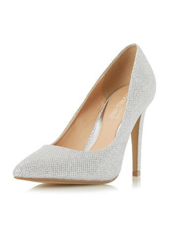 Womens **Head Over Heels Blue Pointed Toe High Heeled Court Shoes Silver - predominant colour: light grey; occasions: evening, work, occasion; material: fabric; heel: stiletto; toe: pointed toe; style: courts; finish: plain; pattern: plain; heel height: very high; season: s/s 2016; wardrobe: highlight