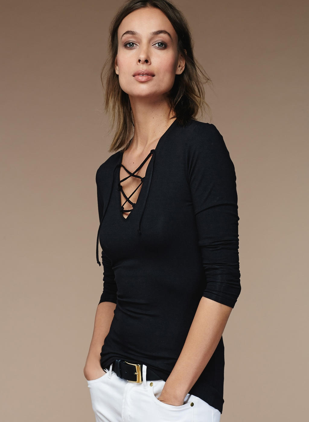 Womenswear Masham Lace Up Top - neckline: v-neck; pattern: plain; predominant colour: black; occasions: evening; length: standard; style: top; fibres: viscose/rayon - stretch; fit: body skimming; sleeve length: 3/4 length; sleeve style: standard; texture group: jersey - clingy; pattern type: fabric; season: s/s 2016; wardrobe: event