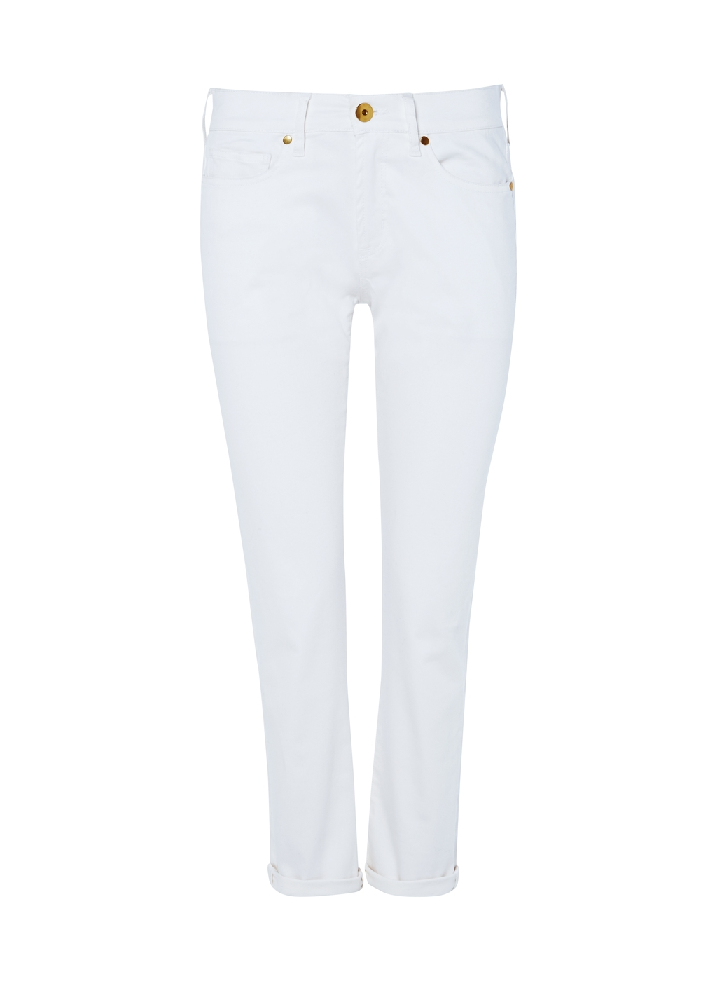 Womenswear Boyfriend Jean - style: boyfriend; length: standard; pattern: plain; pocket detail: traditional 5 pocket; waist: mid/regular rise; predominant colour: white; occasions: casual; fibres: cotton - 100%; texture group: denim; pattern type: fabric; season: s/s 2016; wardrobe: highlight