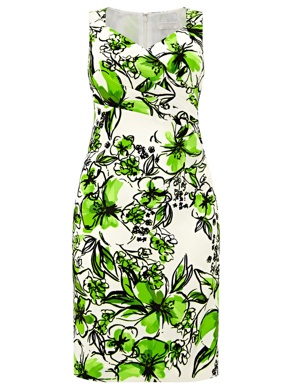 Printed Floral Dress, Cream/Green - style: shift; neckline: v-neck; fit: tailored/fitted; sleeve style: sleeveless; waist detail: flattering waist detail; predominant colour: ivory/cream; secondary colour: emerald green; length: on the knee; fibres: polyester/polyamide - stretch; occasions: occasion; sleeve length: sleeveless; pattern type: fabric; pattern size: standard; pattern: florals; texture group: other - light to midweight; season: s/s 2016; wardrobe: event