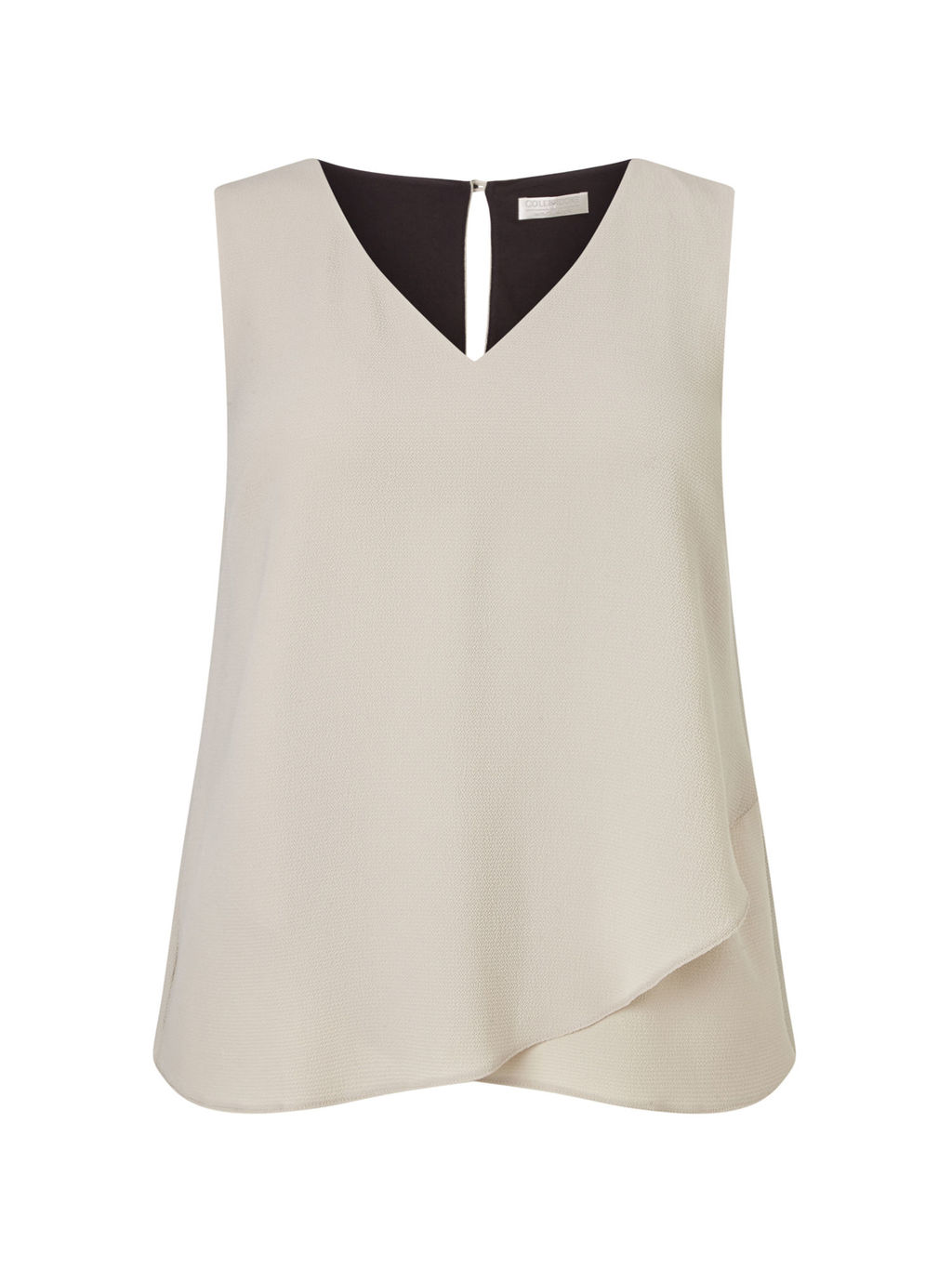 Woven Jersey Layered Top - neckline: v-neck; pattern: plain; sleeve style: sleeveless; predominant colour: stone; length: standard; style: top; fibres: polyester/polyamide - stretch; fit: body skimming; back detail: keyhole/peephole detail at back; sleeve length: sleeveless; texture group: crepes; pattern type: fabric; occasions: creative work; season: s/s 2016; wardrobe: basic