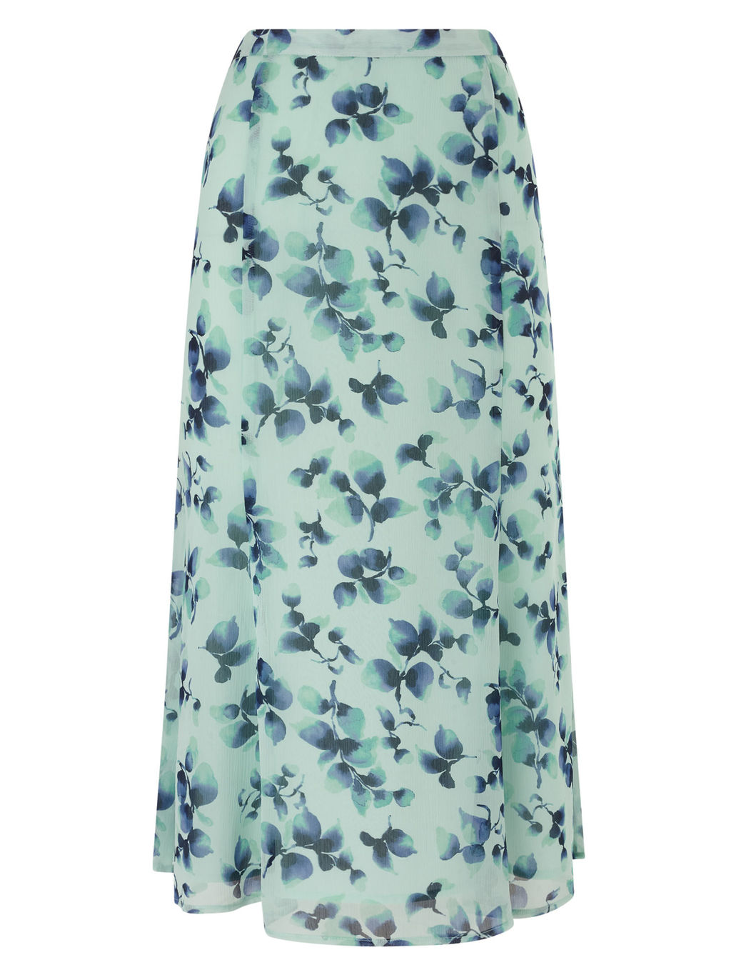 Watercolour Sprig Skirt - style: full/prom skirt; length: ankle length; fit: loose/voluminous; waist: mid/regular rise; predominant colour: navy; secondary colour: pistachio; fibres: polyester/polyamide - 100%; occasions: occasion; texture group: sheer fabrics/chiffon/organza etc.; pattern type: fabric; pattern: florals; pattern size: standard (bottom); multicoloured: multicoloured; season: s/s 2016; wardrobe: event