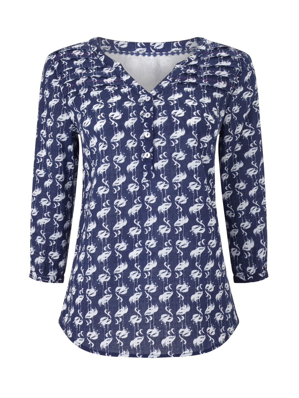 Printed Blouse - neckline: v-neck; secondary colour: white; predominant colour: navy; occasions: casual; length: standard; style: top; fibres: cotton - 100%; fit: body skimming; sleeve length: long sleeve; sleeve style: standard; pattern type: fabric; pattern: patterned/print; texture group: jersey - stretchy/drapey; multicoloured: multicoloured; season: s/s 2016; wardrobe: highlight