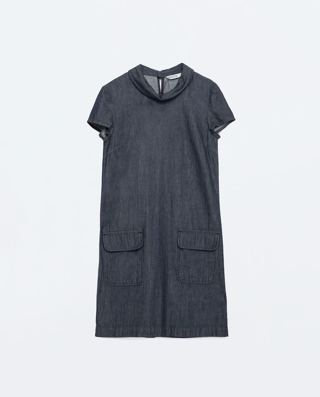 Denim Dress - style: shift; length: mid thigh; neckline: cowl/draped neck; pattern: plain; predominant colour: navy; occasions: casual, creative work; fit: soft a-line; fibres: cotton - 100%; hip detail: subtle/flattering hip detail; sleeve length: short sleeve; sleeve style: standard; texture group: cotton feel fabrics; pattern type: fabric; pattern size: standard; season: s/s 2016; wardrobe: basic