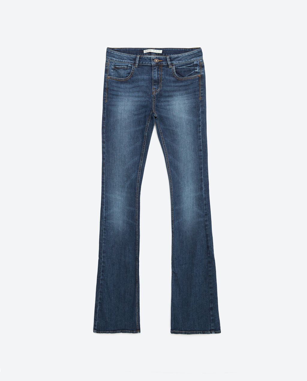 Mid Rise Flared Jeans - style: flares; length: standard; pattern: plain; waist: mid/regular rise; predominant colour: denim; occasions: casual; fibres: cotton - stretch; jeans detail: shading down centre of thigh; texture group: denim; pattern type: fabric; season: s/s 2016