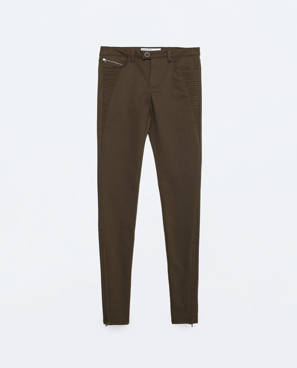 Mid Rise Power Stretch Trousers - length: standard; pattern: plain; waist: mid/regular rise; predominant colour: khaki; occasions: casual, creative work; fibres: cotton - stretch; fit: slim leg; pattern type: fabric; texture group: woven light midweight; style: standard; season: s/s 2016; wardrobe: basic