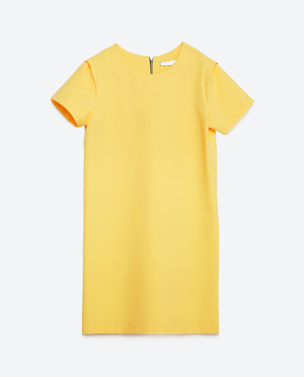 Straight Dress - style: shift; length: mid thigh; neckline: round neck; pattern: plain; predominant colour: primrose yellow; fit: straight cut; fibres: polyester/polyamide - stretch; sleeve length: short sleeve; sleeve style: standard; texture group: crepes; pattern type: fabric; occasions: creative work; season: s/s 2016; wardrobe: highlight