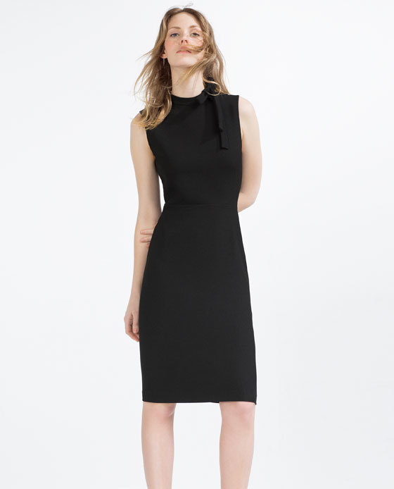 Tube Dress With Tie Up Neckline - style: shift; fit: tailored/fitted; pattern: plain; sleeve style: sleeveless; predominant colour: black; occasions: evening, work, occasion; length: on the knee; fibres: polyester/polyamide - stretch; neckline: crew; sleeve length: sleeveless; pattern type: fabric; texture group: woven light midweight; season: s/s 2016