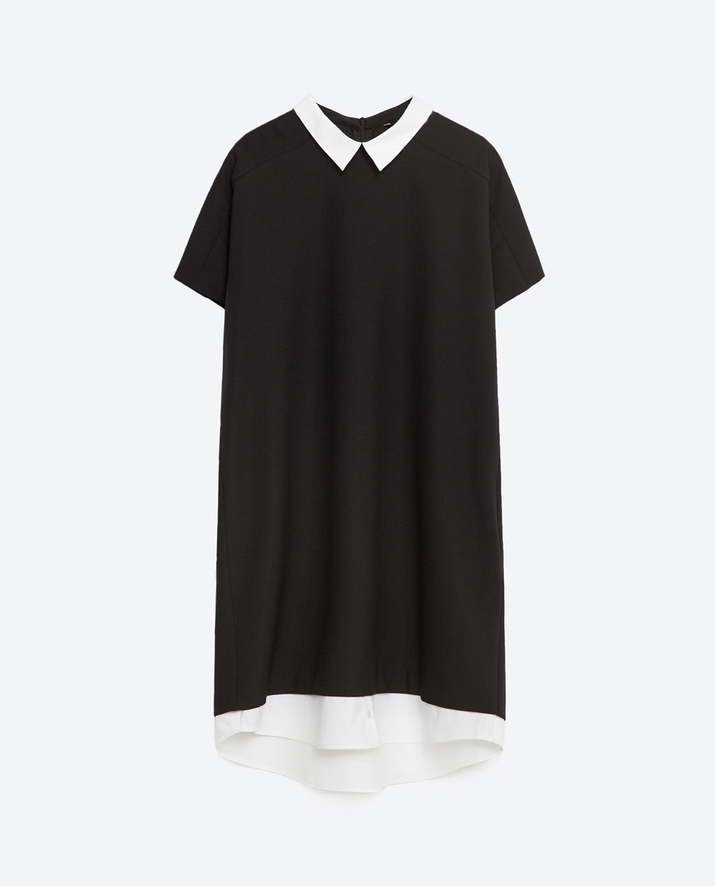 Dress With Contrast Neck And Hem - style: shift; length: mid thigh; secondary colour: white; predominant colour: black; occasions: casual, creative work; fit: soft a-line; fibres: polyester/polyamide - stretch; neckline: no opening/shirt collar/peter pan; sleeve length: short sleeve; sleeve style: standard; trends: monochrome; pattern type: fabric; pattern size: light/subtle; pattern: colourblock; texture group: jersey - stretchy/drapey; season: s/s 2016; wardrobe: highlight