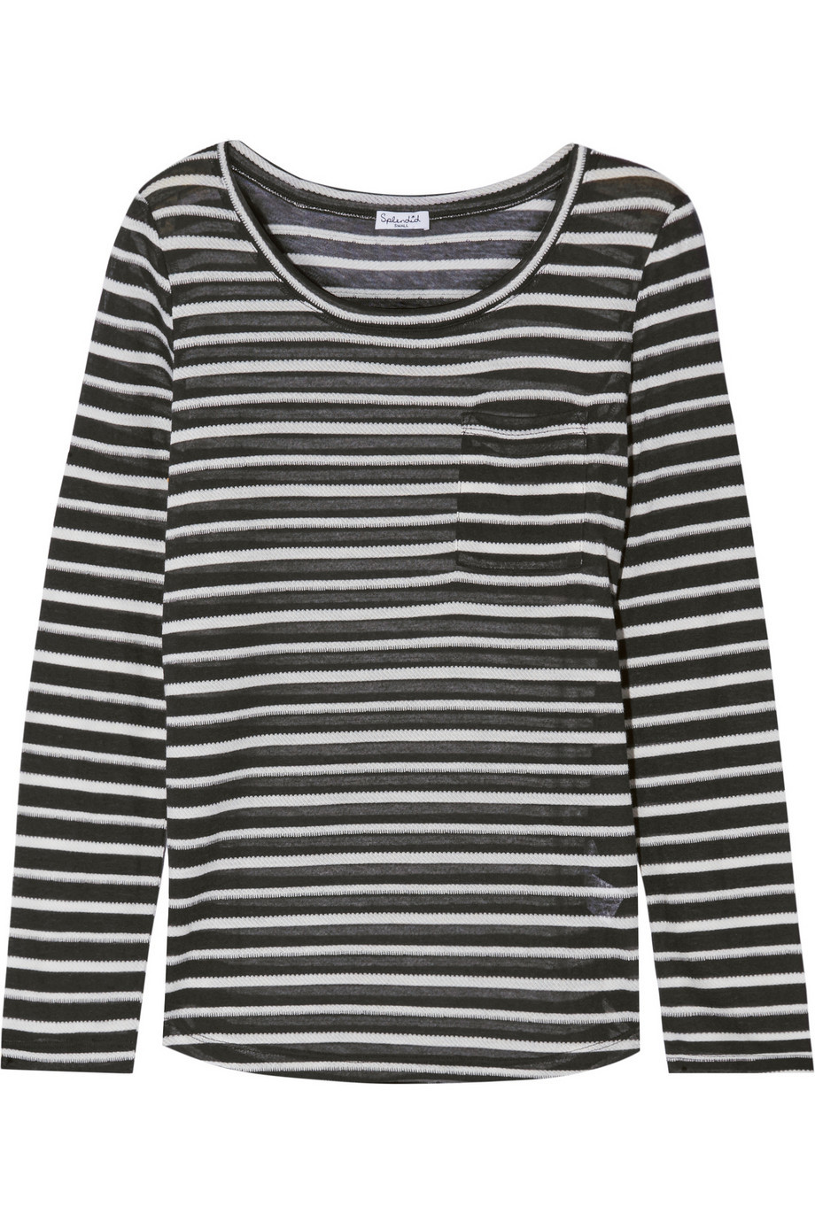 Striped Stretch Knit Top Black - neckline: round neck; pattern: horizontal stripes; secondary colour: light grey; predominant colour: black; occasions: casual, creative work; length: standard; style: top; fibres: polyester/polyamide - mix; fit: body skimming; sleeve length: long sleeve; sleeve style: standard; pattern type: knitted - fine stitch; pattern size: standard; texture group: jersey - stretchy/drapey; season: s/s 2016; wardrobe: basic