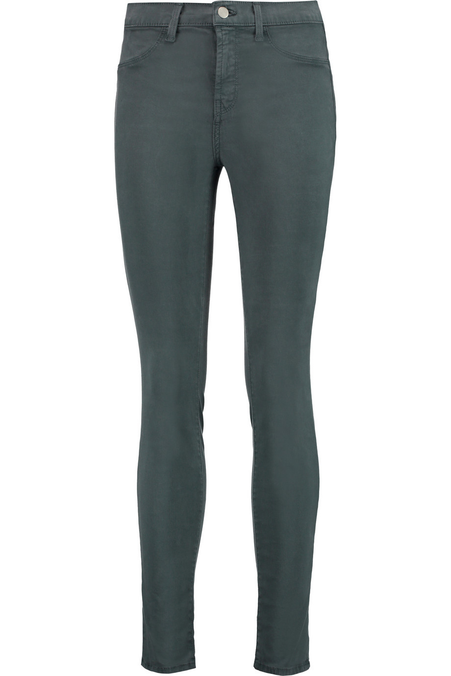 Maria High Rise Skinny Jeans Gray Green - style: skinny leg; length: standard; pattern: plain; waist: high rise; pocket detail: traditional 5 pocket; predominant colour: charcoal; occasions: casual; fibres: cotton - stretch; texture group: denim; pattern type: fabric; season: s/s 2016; wardrobe: highlight