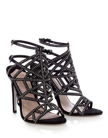 Caged Sandal Heels - secondary colour: silver; predominant colour: black; occasions: evening, occasion; embellishment: jewels/stone; heel: stiletto; toe: open toe/peeptoe; style: strappy; finish: plain; pattern: plain; heel height: very high; material: faux suede; season: s/s 2016; wardrobe: event