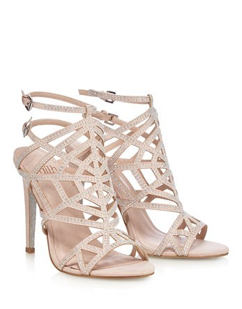 Glitter Caged Sandal Heels - predominant colour: nude; occasions: evening, occasion; material: faux leather; heel height: high; heel: stiletto; toe: open toe/peeptoe; style: strappy; finish: plain; pattern: plain; season: s/s 2016