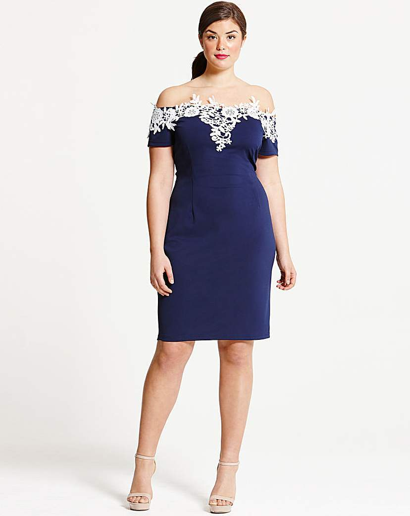 Paper Dolls Navy Applique Dress - neckline: off the shoulder; fit: tight; pattern: plain; style: bodycon; secondary colour: white; predominant colour: navy; occasions: evening; length: on the knee; fibres: polyester/polyamide - 100%; sleeve length: short sleeve; sleeve style: standard; texture group: jersey - clingy; pattern type: fabric; season: s/s 2016; wardrobe: event; embellishment location: bust