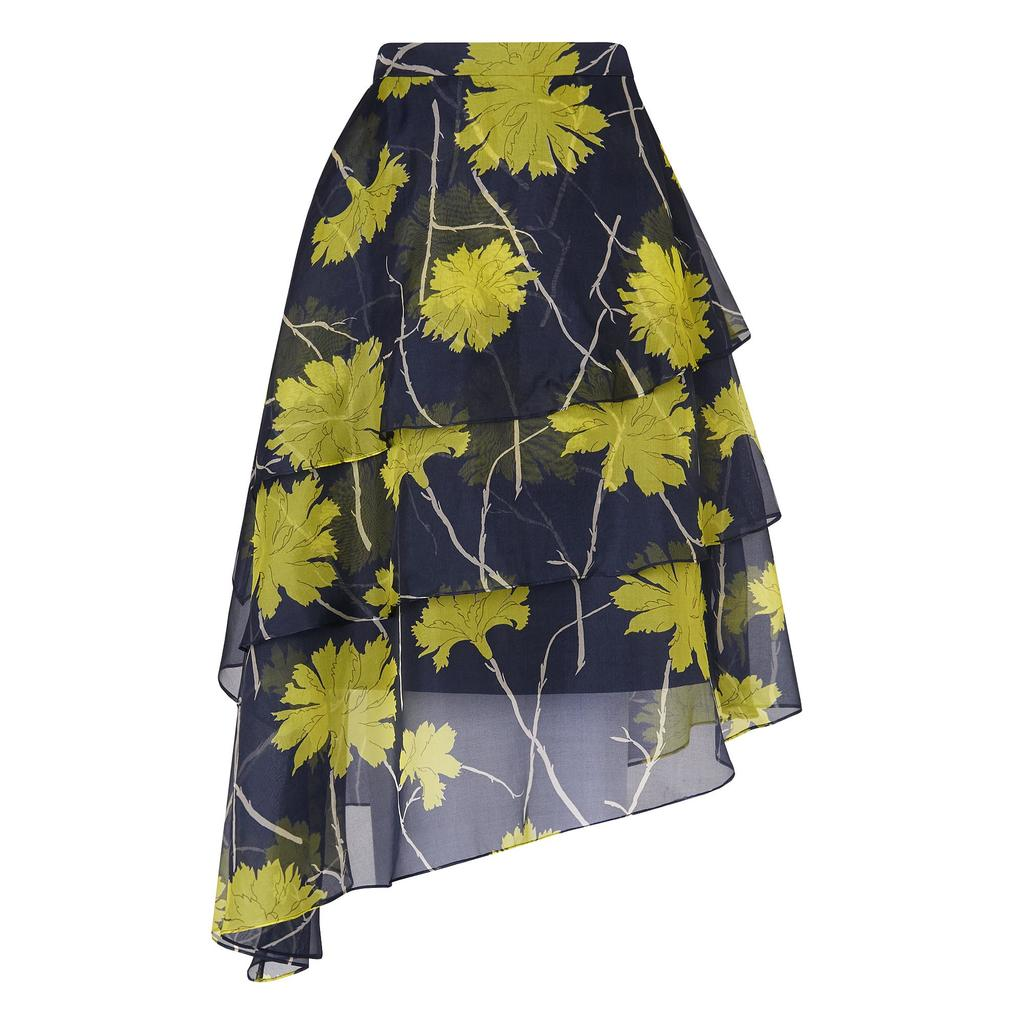 Lyra Floral Layered Skirt Multi Lime Floral - style: full/prom skirt; fit: loose/voluminous; waist: high rise; predominant colour: navy; secondary colour: lime; occasions: evening, occasion; length: just above the knee; fibres: silk - 100%; hip detail: subtle/flattering hip detail; waist detail: feature waist detail; texture group: sheer fabrics/chiffon/organza etc.; pattern type: fabric; pattern: florals; pattern size: big & busy (bottom); season: s/s 2016; wardrobe: event