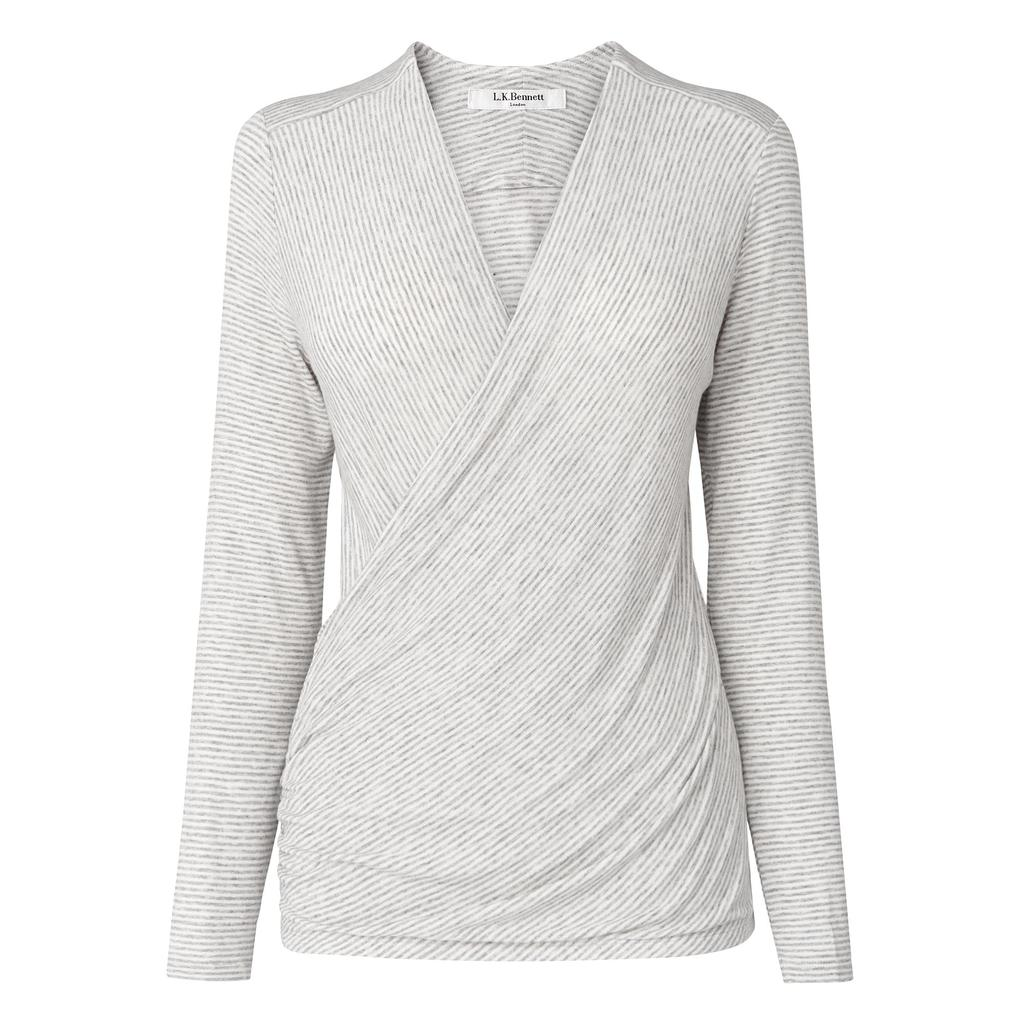 Moya Wrap Jersey Top Grey Grey Cream - neckline: v-neck; pattern: plain; style: wrap/faux wrap; predominant colour: light grey; occasions: casual; length: standard; fibres: viscose/rayon - stretch; fit: tight; sleeve length: long sleeve; sleeve style: standard; pattern type: fabric; texture group: jersey - stretchy/drapey; season: s/s 2016; wardrobe: basic