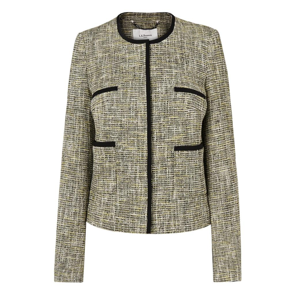 Anais Tweed Tailored Jacket Multi Lime - style: single breasted blazer; collar: round collar/collarless; pattern: herringbone/tweed; predominant colour: stone; secondary colour: black; occasions: work; length: standard; fit: tailored/fitted; fibres: wool - mix; sleeve length: long sleeve; sleeve style: standard; collar break: high; pattern type: fabric; pattern size: standard; texture group: woven light midweight; season: s/s 2016; wardrobe: investment