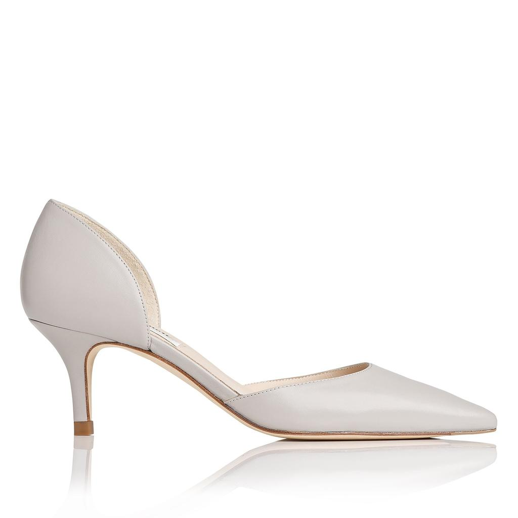 Florine Grey Courts Grey Mist - predominant colour: light grey; occasions: evening, work, occasion; material: leather; heel height: mid; heel: kitten; toe: pointed toe; style: courts; finish: plain; pattern: plain; season: s/s 2016; wardrobe: investment