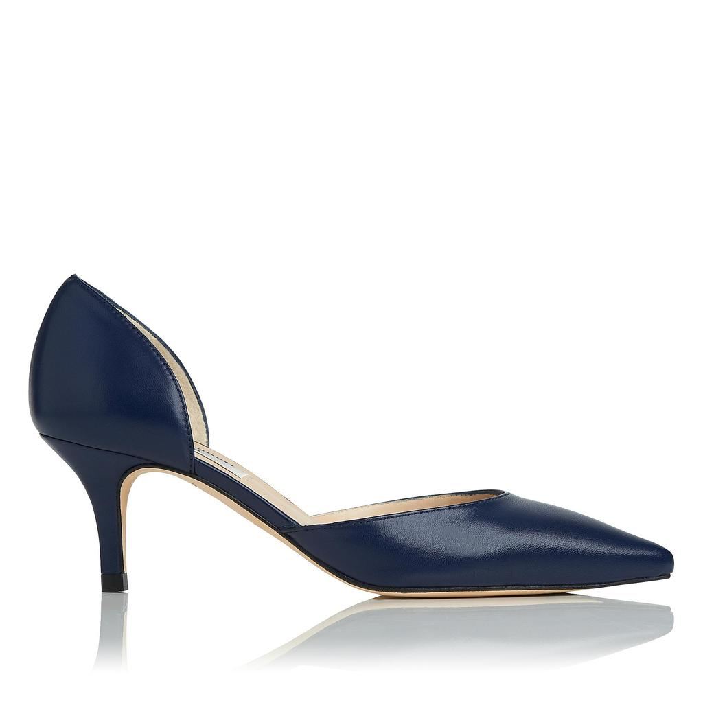 Florine Navy Courts Blue Denim - predominant colour: royal blue; occasions: evening, work, occasion; material: leather; heel height: mid; heel: stiletto; toe: pointed toe; style: courts; finish: plain; pattern: plain; season: s/s 2016; wardrobe: highlight