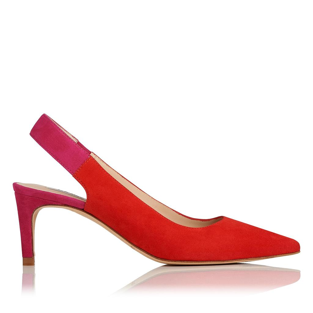 Anni Pink Red Suede Courts - predominant colour: true red; material: suede; heel height: mid; heel: standard; toe: pointed toe; style: slingbacks; finish: plain; pattern: plain; occasions: creative work; season: s/s 2016; wardrobe: highlight