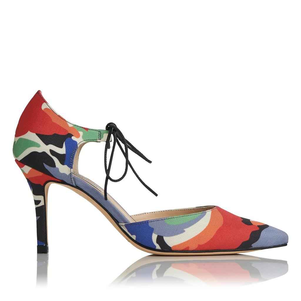 Fauna Print Pointed Courts - predominant colour: true red; material: fabric; heel height: mid; heel: stiletto; toe: pointed toe; style: courts; finish: plain; pattern: patterned/print; occasions: creative work; multicoloured: multicoloured; season: s/s 2016; wardrobe: highlight