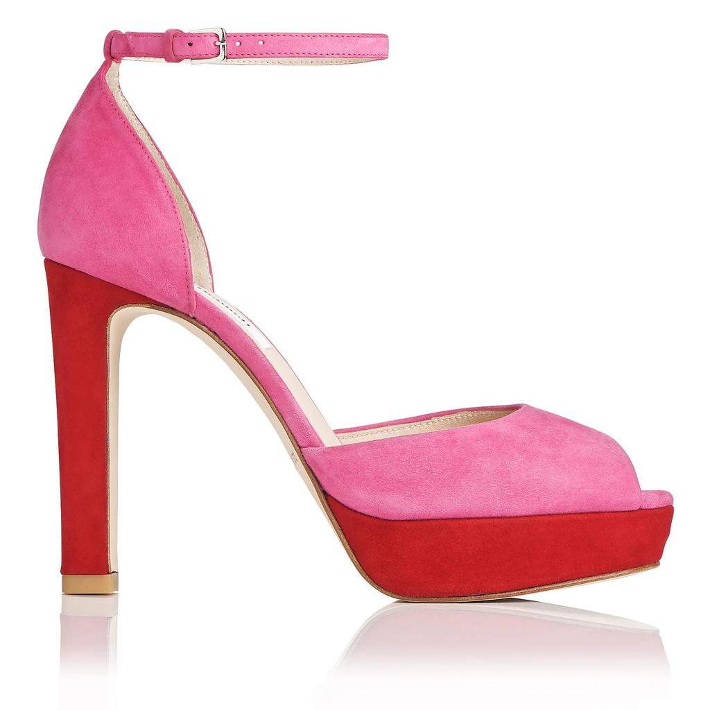 Selina Platform Peep Toe Sandals Pink Fuchsia - occasions: evening, occasion; material: suede; ankle detail: ankle strap; heel: stiletto; toe: open toe/peeptoe; style: courts; finish: plain; pattern: colourblock; predominant colour: dusky pink; heel height: very high; shoe detail: platform; season: s/s 2016; wardrobe: event