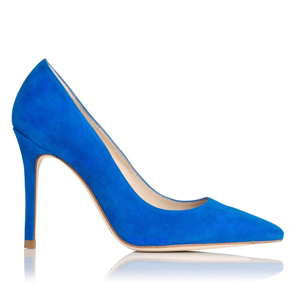 Fern Blue Suede Courts Blue Majorelle - predominant colour: diva blue; occasions: evening, occasion; material: suede; heel height: high; heel: stiletto; toe: pointed toe; style: courts; finish: plain; pattern: plain; season: s/s 2016; wardrobe: event