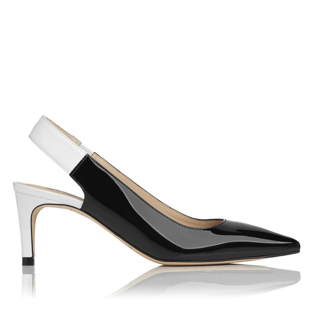 Anni Monochrome Leather Courts - secondary colour: white; predominant colour: primrose yellow; occasions: evening, occasion; material: leather; heel height: mid; heel: standard; toe: pointed toe; style: slingbacks; finish: patent; pattern: colourblock; season: s/s 2016; wardrobe: event