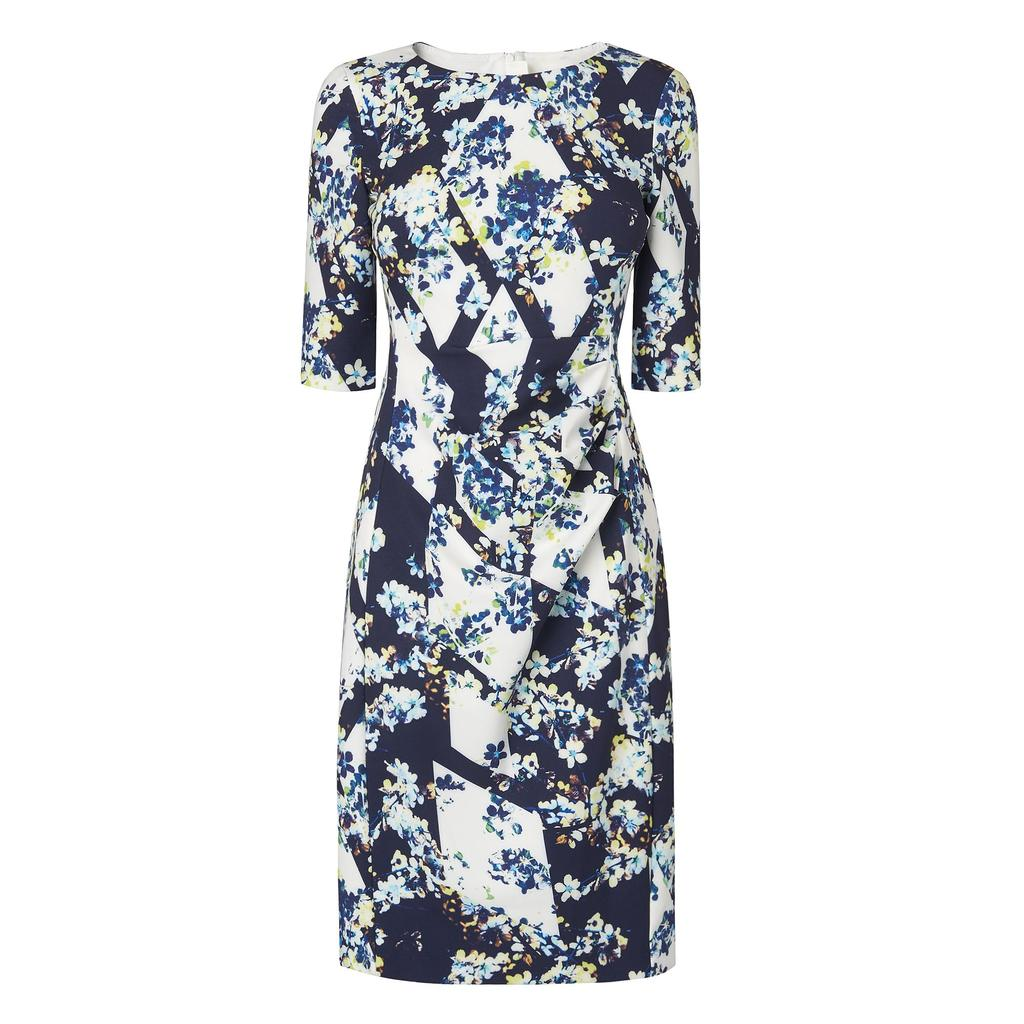 Crystal Printed Fitted Dress Multi Blue Multi - style: shift; secondary colour: white; predominant colour: navy; occasions: evening; length: on the knee; fit: body skimming; fibres: polyester/polyamide - stretch; neckline: crew; sleeve length: half sleeve; sleeve style: standard; pattern type: fabric; pattern: florals; texture group: jersey - stretchy/drapey; multicoloured: multicoloured; season: s/s 2016; wardrobe: event