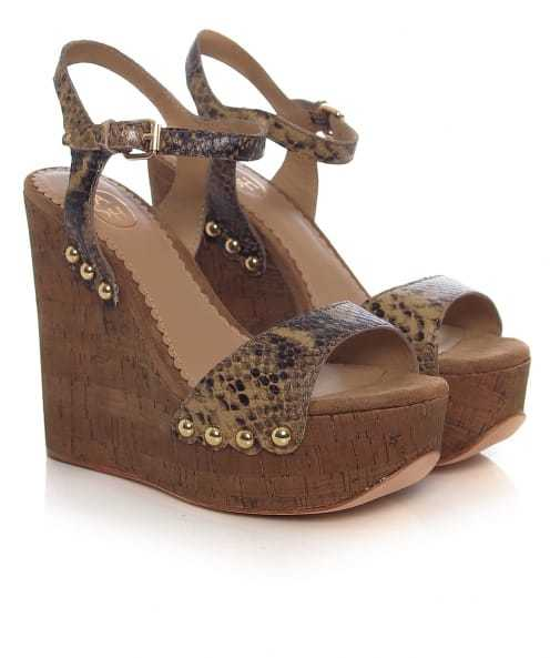Biba Whips Cork Wedges - predominant colour: chocolate brown; occasions: casual, creative work; material: leather; embellishment: studs; ankle detail: ankle strap; heel: wedge; toe: open toe/peeptoe; style: strappy; finish: plain; pattern: animal print; heel height: very high; shoe detail: platform; season: s/s 2016; wardrobe: highlight