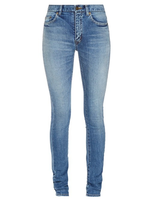 Mid Rise Skinny Jeans - style: skinny leg; length: standard; pattern: plain; waist: high rise; pocket detail: traditional 5 pocket; predominant colour: denim; occasions: casual; fibres: cotton - stretch; jeans detail: whiskering, shading down centre of thigh; texture group: denim; pattern type: fabric; season: s/s 2016; wardrobe: basic