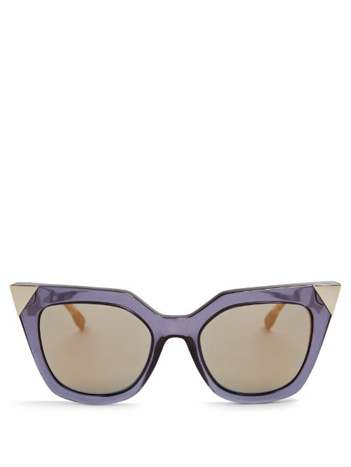 Iridia Cat Eye Sunglasses - predominant colour: lilac; style: cateye; size: standard; material: plastic/rubber; pattern: plain; occasions: holiday; finish: plain; season: s/s 2016; wardrobe: highlight