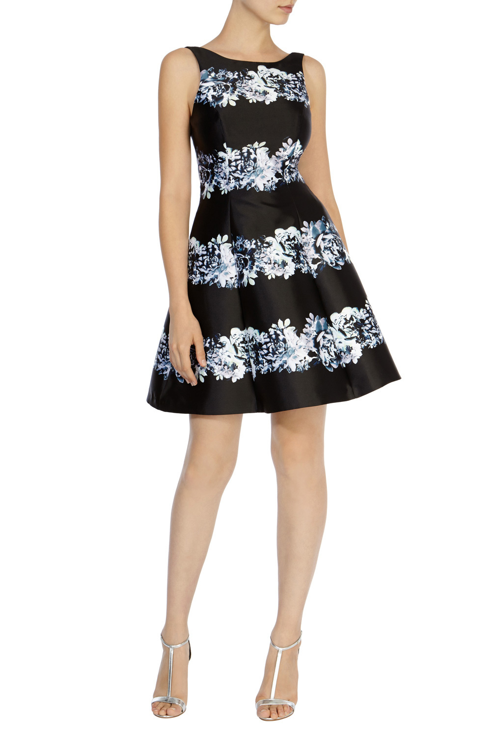Floral Stripe Millana Dress - length: mid thigh; sleeve style: sleeveless; secondary colour: pale blue; predominant colour: black; occasions: evening, occasion; fit: fitted at waist & bust; style: fit & flare; fibres: polyester/polyamide - 100%; neckline: crew; hip detail: subtle/flattering hip detail; sleeve length: sleeveless; pattern type: fabric; pattern: patterned/print; texture group: woven light midweight; season: s/s 2016; wardrobe: event