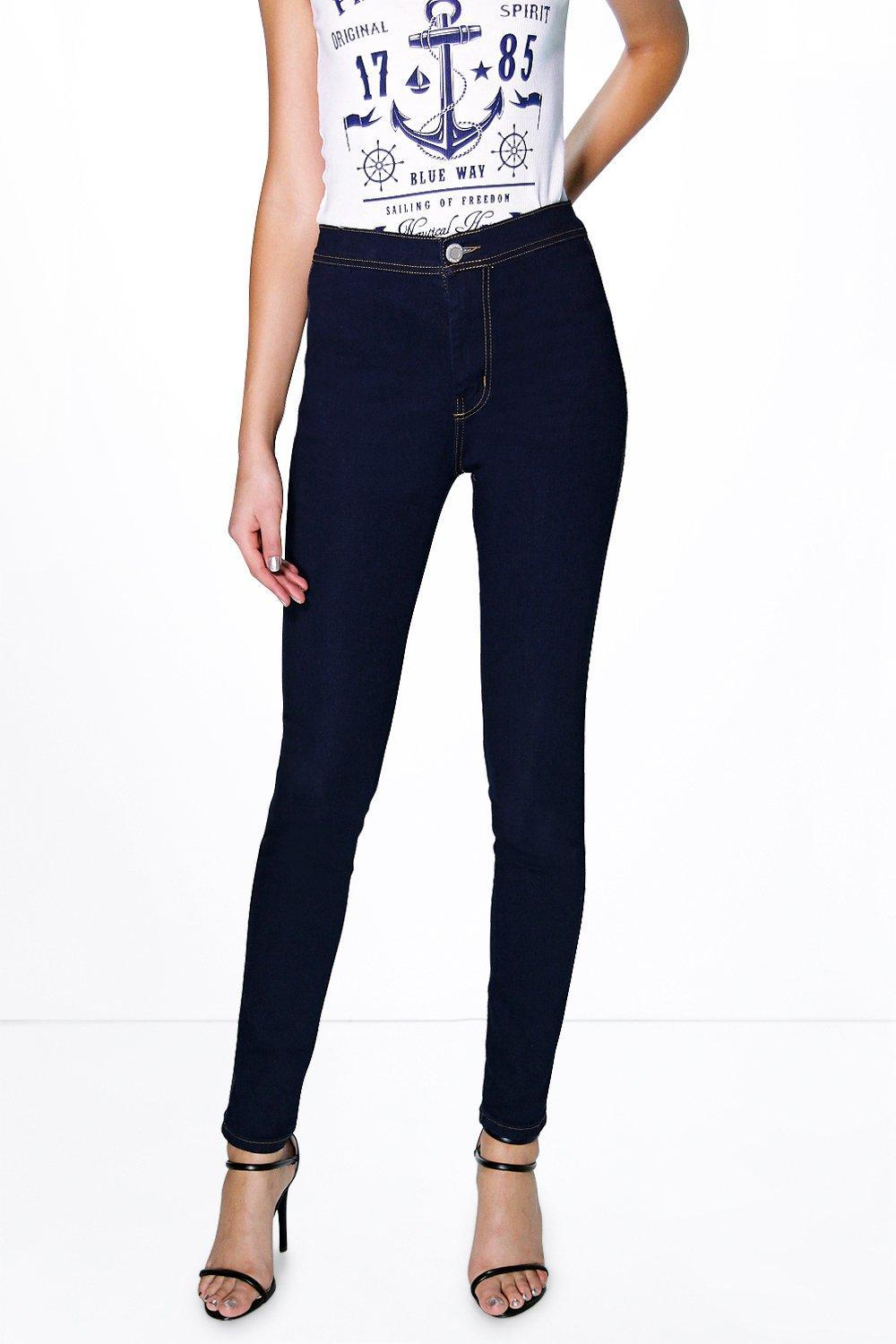 Narla High Waisted Skinny Tube Jeans Indigo - style: skinny leg; length: standard; pattern: plain; waist: high rise; pocket detail: traditional 5 pocket; predominant colour: navy; occasions: casual; fibres: cotton - stretch; jeans detail: dark wash; texture group: denim; pattern type: fabric; season: s/s 2016; wardrobe: basic