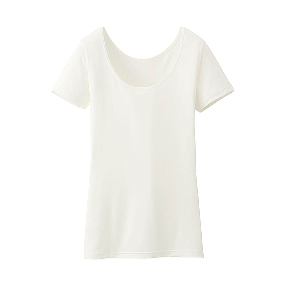 Women Heattech Scoop Neck Short Sleeve T Shirt Off White - pattern: plain; style: t-shirt; predominant colour: ivory/cream; occasions: casual, creative work; length: standard; neckline: scoop; fibres: silk - 100%; fit: body skimming; sleeve length: short sleeve; sleeve style: standard; texture group: silky - light; pattern type: fabric; season: s/s 2016; wardrobe: basic