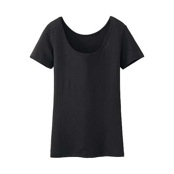 Women Heattech Scoop Neck Short Sleeve T Shirt Black - pattern: plain; style: t-shirt; predominant colour: black; occasions: casual, creative work; length: standard; neckline: scoop; fibres: polyester/polyamide - stretch; fit: body skimming; sleeve length: short sleeve; sleeve style: standard; pattern type: fabric; texture group: jersey - stretchy/drapey; season: s/s 2016; wardrobe: basic