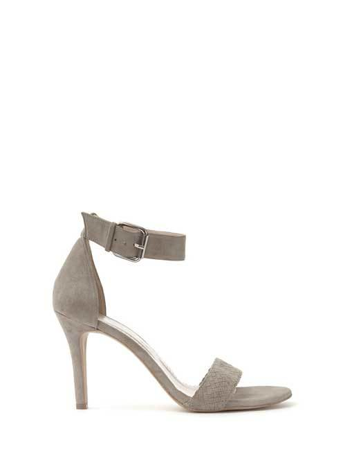 Stone Abigail Sandal - predominant colour: light grey; occasions: evening, occasion; material: suede; heel height: high; embellishment: buckles; ankle detail: ankle strap; heel: stiletto; toe: open toe/peeptoe; style: standard; finish: plain; pattern: plain; season: s/s 2016