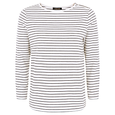 Fine Stripe Zip Detail Top - neckline: round neck; pattern: plain; style: t-shirt; predominant colour: white; secondary colour: black; occasions: casual, creative work; length: standard; fibres: cotton - stretch; fit: body skimming; sleeve length: 3/4 length; sleeve style: standard; trends: monochrome; pattern type: fabric; texture group: jersey - stretchy/drapey; season: s/s 2016