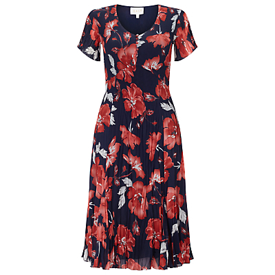 English Rose Pleated Dress, Ink - style: tea dress; length: below the knee; neckline: round neck; secondary colour: true red; predominant colour: navy; occasions: casual; fit: fitted at waist & bust; fibres: polyester/polyamide - 100%; hip detail: subtle/flattering hip detail; sleeve length: short sleeve; sleeve style: standard; texture group: sheer fabrics/chiffon/organza etc.; pattern type: fabric; pattern size: big & busy; pattern: florals; season: s/s 2016; wardrobe: highlight