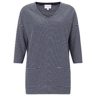 Stripe Ribbed Jersey Top, Ink - neckline: v-neck; pattern: horizontal stripes; secondary colour: white; predominant colour: navy; occasions: casual; length: standard; style: top; fibres: cotton - 100%; fit: body skimming; sleeve length: 3/4 length; sleeve style: standard; pattern type: fabric; pattern size: standard; texture group: jersey - stretchy/drapey; multicoloured: multicoloured; season: s/s 2016; wardrobe: basic
