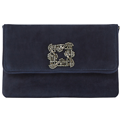 Bree Flapover Embellished Clutch Bag, Navy - predominant colour: navy; occasions: evening, occasion; type of pattern: standard; style: clutch; length: hand carry; size: small; material: suede; pattern: plain; finish: plain; embellishment: chain/metal; season: s/s 2016; wardrobe: event
