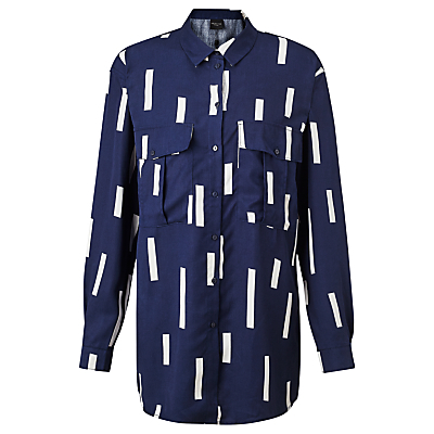 Anzia Line Print Shirt, Navy - neckline: shirt collar/peter pan/zip with opening; length: below the bottom; style: shirt; secondary colour: white; predominant colour: navy; fibres: cotton - 100%; fit: straight cut; sleeve length: long sleeve; sleeve style: standard; bust detail: bulky details at bust; pattern type: fabric; pattern size: standard; pattern: patterned/print; texture group: woven light midweight; occasions: creative work; season: s/s 2016; wardrobe: highlight