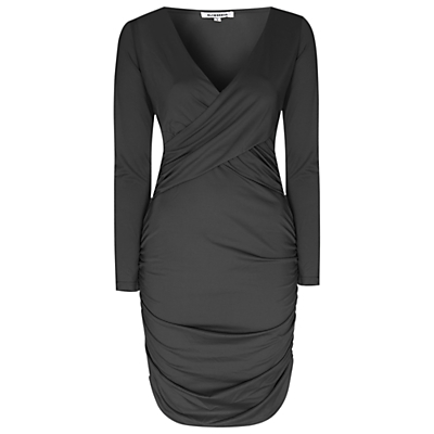 Ruched Bodycon Dress, Black - style: shift; length: mid thigh; neckline: low v-neck; fit: tight; pattern: plain; predominant colour: black; occasions: evening; fibres: polyester/polyamide - 100%; hip detail: adds bulk at the hips; sleeve length: long sleeve; sleeve style: standard; texture group: jersey - clingy; pattern type: fabric; season: s/s 2016; wardrobe: event