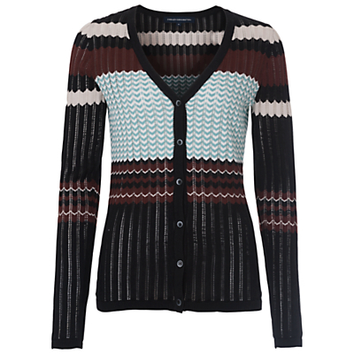Chevron Knit Cardigan, Black/Multi - neckline: low v-neck; pattern: horizontal stripes; predominant colour: black; occasions: casual, creative work; length: standard; style: standard; fibres: cotton - 100%; fit: slim fit; sleeve length: long sleeve; sleeve style: standard; texture group: knits/crochet; pattern type: knitted - other; pattern size: big & busy (top); multicoloured: multicoloured; season: s/s 2016; wardrobe: highlight