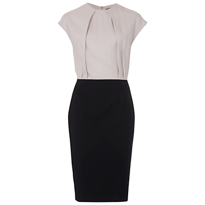 Rikki Two Toned Pencil Dress - style: shift; sleeve style: capped; fit: tailored/fitted; bust detail: ruching/gathering/draping/layers/pintuck pleats at bust; secondary colour: mid grey; predominant colour: black; length: on the knee; fibres: viscose/rayon - 100%; occasions: occasion, creative work; neckline: crew; sleeve length: short sleeve; pattern type: fabric; pattern size: standard; pattern: colourblock; texture group: woven light midweight; season: s/s 2016; wardrobe: highlight