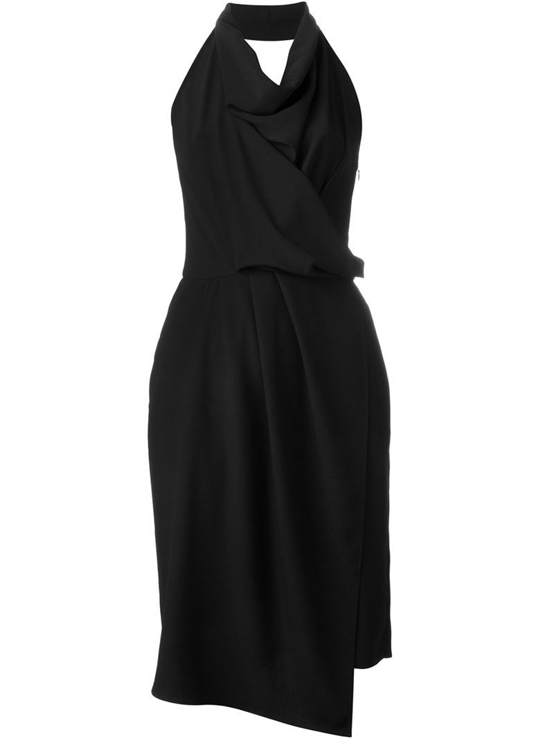 Draped Halterneck Dress, Women's, Black - style: faux wrap/wrap; length: below the knee; neckline: v-neck; pattern: plain; sleeve style: sleeveless; waist detail: belted waist/tie at waist/drawstring; predominant colour: black; occasions: evening; fit: body skimming; fibres: silk - mix; sleeve length: sleeveless; texture group: crepes; bust detail: bulky details at bust; pattern type: fabric; season: s/s 2016; wardrobe: event