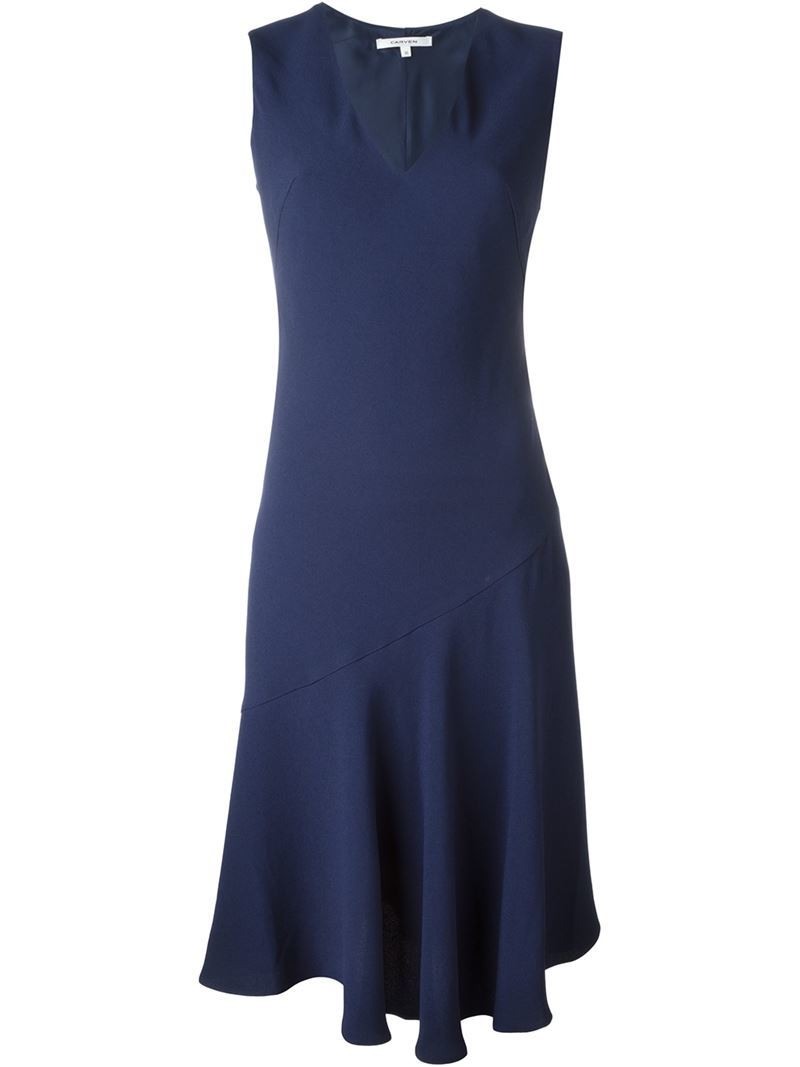 Sleeveless Circle Dress, Women's, Blue - style: shift; neckline: v-neck; pattern: plain; sleeve style: sleeveless; predominant colour: navy; occasions: evening, occasion; length: just above the knee; fit: soft a-line; fibres: cotton - mix; sleeve length: sleeveless; pattern type: fabric; texture group: woven light midweight; season: s/s 2016; wardrobe: event