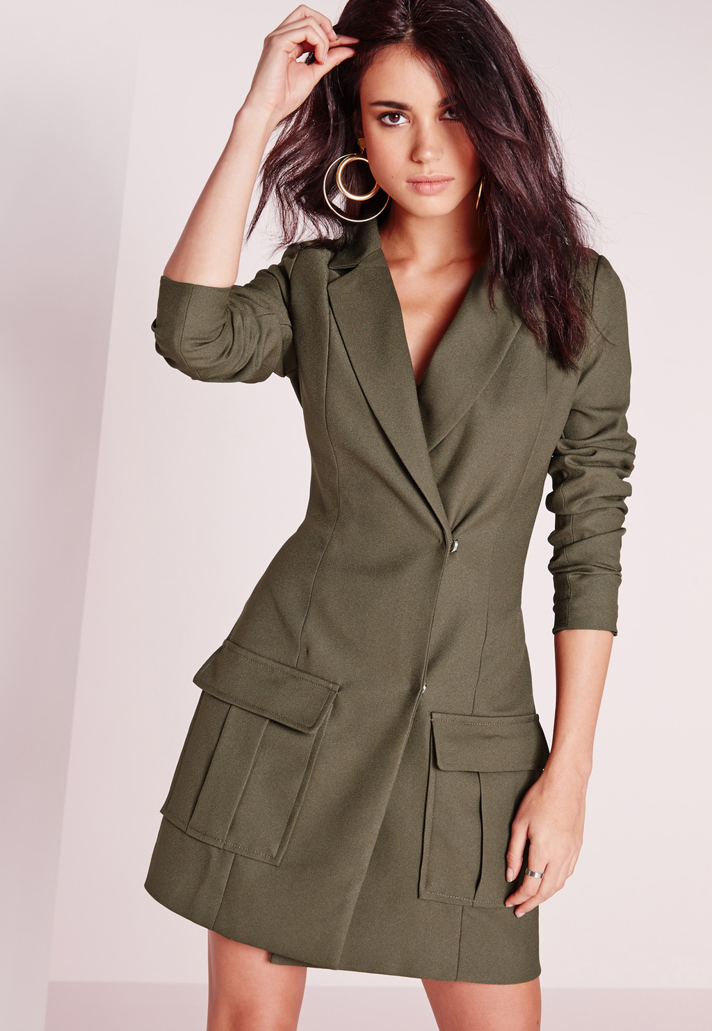 Pocket Detail Blazer Dress Khaki, Beige - style: faux wrap/wrap; length: mini; neckline: low v-neck; fit: tailored/fitted; pattern: plain; hip detail: front pockets at hip; predominant colour: khaki; occasions: evening; fibres: polyester/polyamide - 100%; sleeve length: long sleeve; sleeve style: standard; texture group: crepes; pattern type: fabric; season: s/s 2016