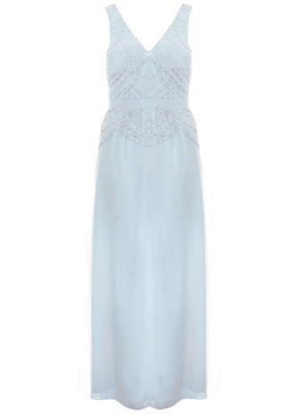 Womens **Quiz Sequin Maxi Dress Blue - neckline: low v-neck; pattern: plain; sleeve style: sleeveless; style: maxi dress; length: ankle length; predominant colour: pale blue; fit: fitted at waist & bust; fibres: polyester/polyamide - 100%; occasions: occasion; hip detail: subtle/flattering hip detail; sleeve length: sleeveless; texture group: sheer fabrics/chiffon/organza etc.; pattern type: fabric; season: s/s 2016; wardrobe: event; embellishment location: bust