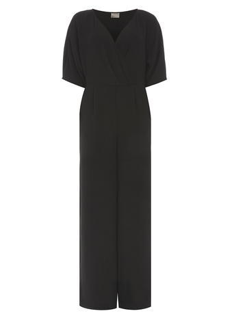 Womens **Vero Moda Black V Neck Jumpsuit Black - length: standard; neckline: v-neck; pattern: plain; predominant colour: black; occasions: evening; fit: body skimming; fibres: viscose/rayon - 100%; sleeve length: short sleeve; sleeve style: standard; style: jumpsuit; pattern type: fabric; texture group: other - light to midweight; season: s/s 2016; wardrobe: event